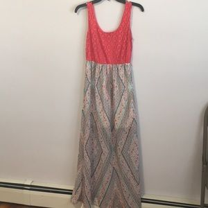Coral and Print Lily Rose Maxi Dress